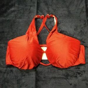 Cacique Swim 40DD Bikini Criss Cross Top Cranberry